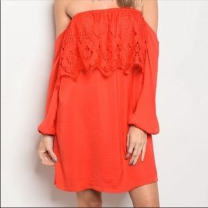 VaVa by Jon Han Red Lace Off the Shoulder Dress